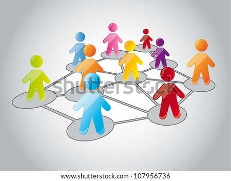 human icons with colors on network. vector illustration - stock vector