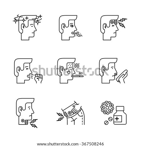 Human illness and diseases symptoms signs set. Ill man avatars. Thin line art icons. Linear style illustrations isolated on white. - stock vector