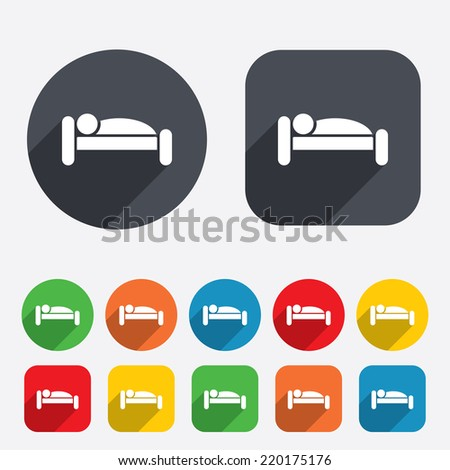 Human in bed sign icon. Travel rest place. Sleeper symbol. Circles and rounded squares 12 buttons. Vector - stock vector