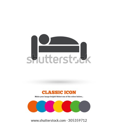 Human in bed sign icon. Travel rest place. Sleeper symbol. Classic flat icon. Colored circles. Vector - stock vector