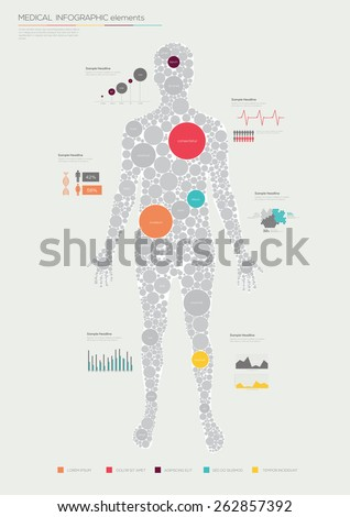 Human infographics made of circles. Flat design. Vector illustration  - stock vector