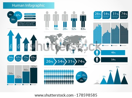 Human infographics set vector illustration world stock vector human infographics set vector illustration world map and information graphics gumiabroncs Image collections