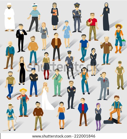 Human infographics.Vector seamless txture. - stock vector