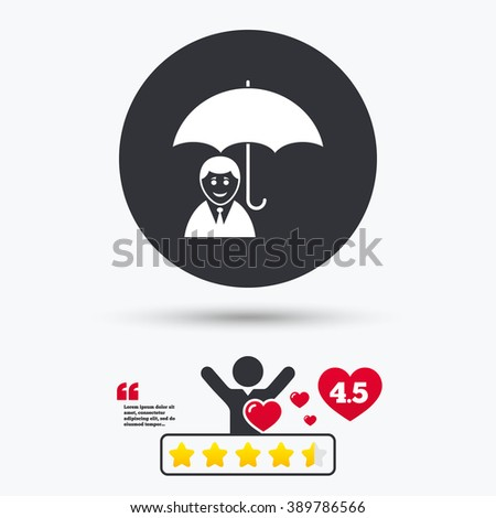 Human insurance icon. Human insurance flat symbol. Human insurance art illustration. Human insurance flat sign. Human insurance graphic icon. Star vote ranking. Client or customer like. Quotes. - stock vector