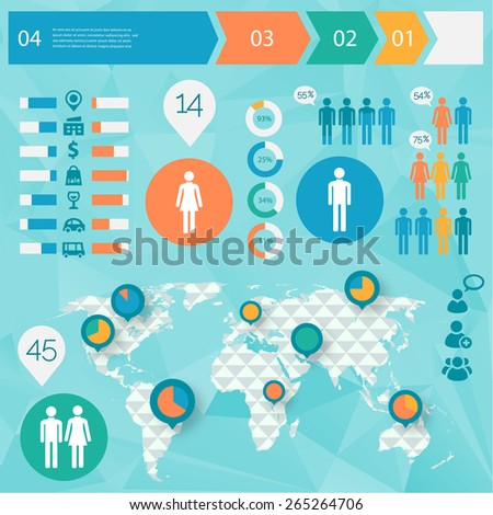 Human Issues Infographics with polygonal world map and option steps timeline banners - stock vector