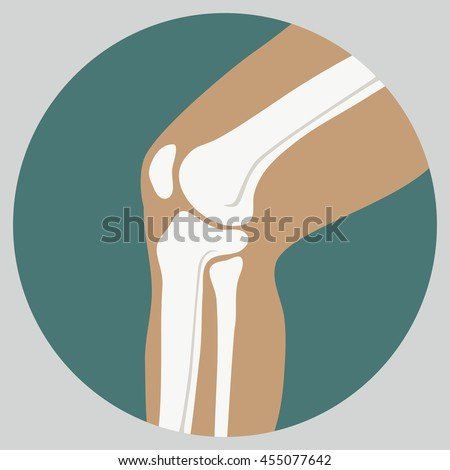 Human knee joint medical icon, emblem for orthopedic clinic - stock vector