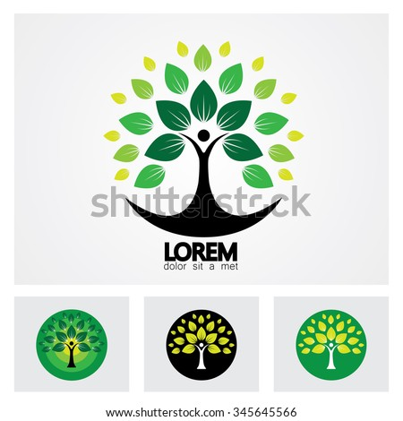 human life logo icon of abstract people tree vector set. this design represents eco friendly green, family tree, signs and symbols. - stock vector