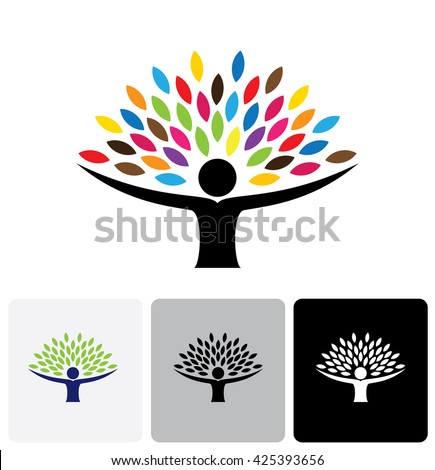 human life logo icon of abstract people tree vector. this design represents eco friendly green, embracing, hug, friendly, education, learning, green tech, sustainable growth & development - stock vector