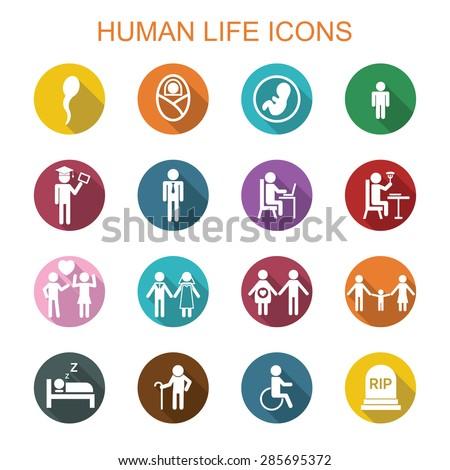 human life long shadow icons, flat vector symbols - stock vector