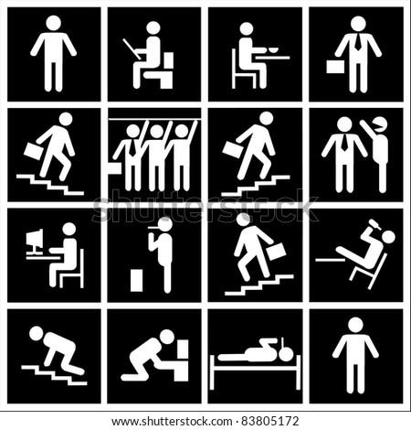 Human life.Symbolic life of a clerk.vector  illustration - stock vector