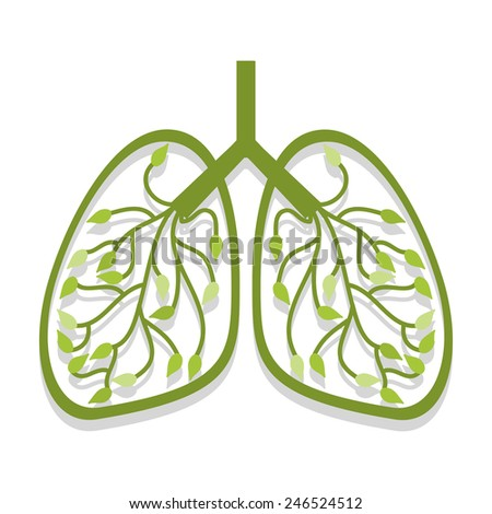 Human lung icon tree leaves - stock vector