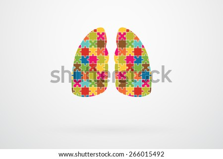 Human Lungs Jigsaw Puzzle Pieces Abstract Vector