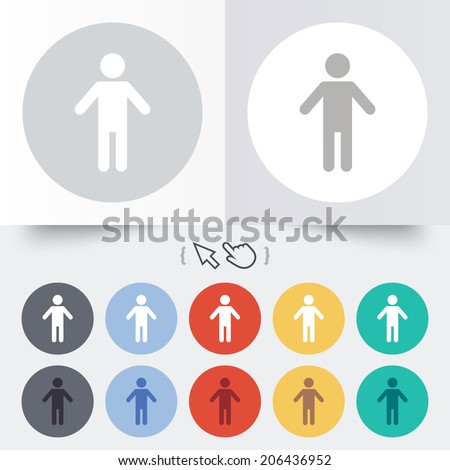 Human male sign icon. Man Person symbol. Male toilet. Round 12 circle buttons. Shadow. Hand cursor pointer. Vector - stock vector