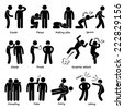 Human Man Action Emotion Stick Figure Pictogram Icons - stock photo