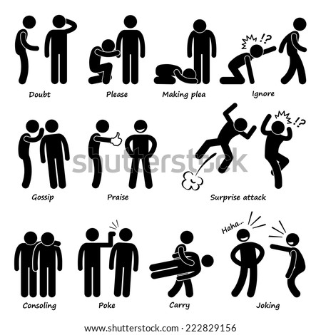 Human Man Action Emotion Stick Figure Pictogram Icons - stock vector