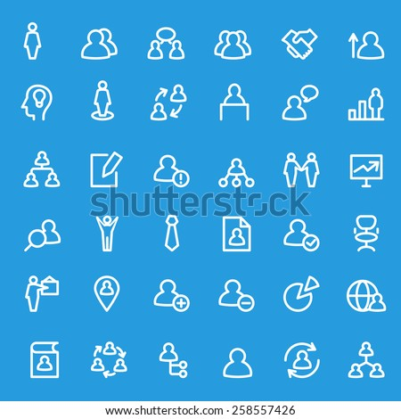 Human management icons, simple and thin line design - stock vector