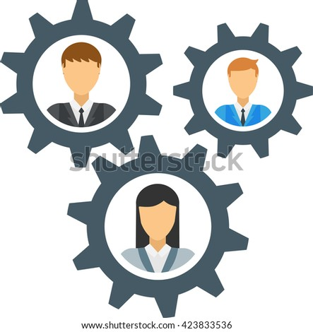 Human mechanism gear design and human mechanism concept. Human mechanism technology machine business and cog human mechanism robot people cogwheel brain teamwork machinery. Engineering mechanical man. - stock vector