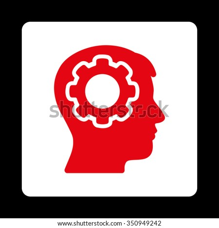 Human Memory vector icon. Style is flat rounded square button, red and white colors, black background. - stock vector