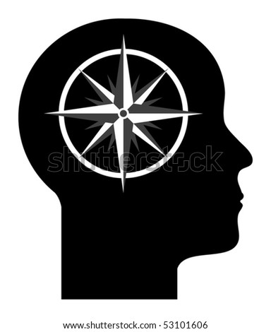 Human mind - compass in to the head, vector illustration - stock vector