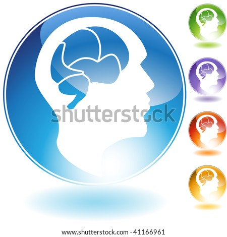 Human mind crystal icon isolated on a white background. - stock vector