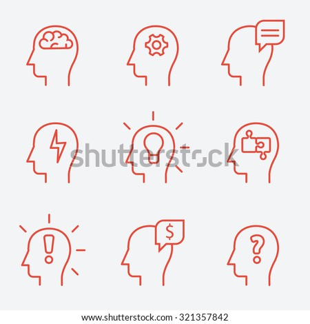 Human mind icons, thin line style, flat design - stock vector