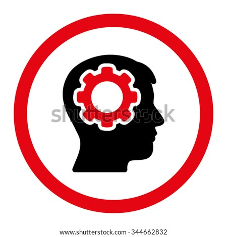 Human Mind vector icon. Style is bicolor flat rounded symbol, intensive red and black colors, rounded angles, white background. - stock vector
