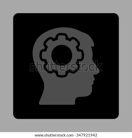 Human Mind vector icon. Style is flat rounded square button, gray and black colors, silver background. - stock vector