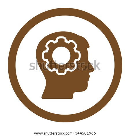 Human Mind vector icon. Style is flat rounded symbol, brown color, rounded angles, white background. - stock vector