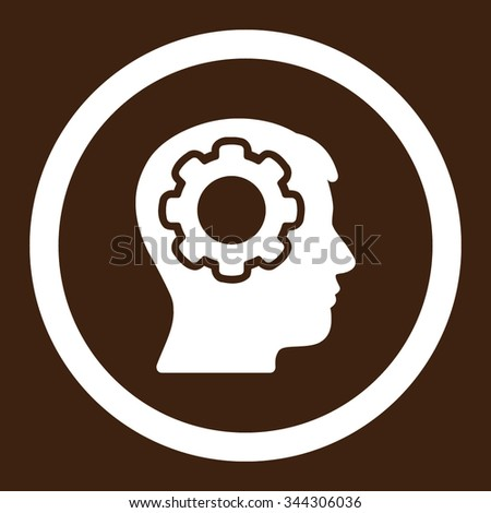 Human Mind vector icon. Style is flat rounded symbol, white color, rounded angles, brown background. - stock vector
