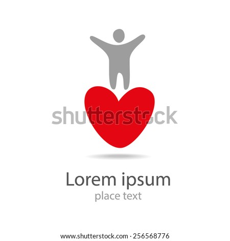 Human person with red heart logo icon - stock vector