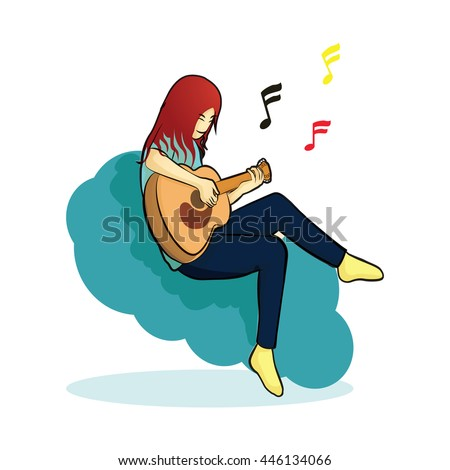 human play guitar sitting on blue cloud vector logo