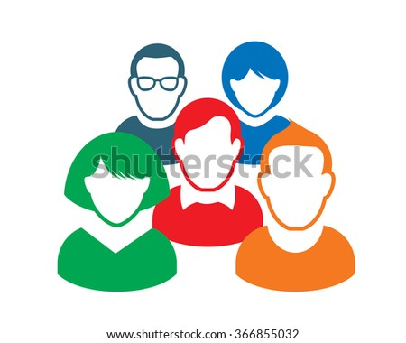 Human portrait and Icon. Vector Illustration. Office team. - stock vector
