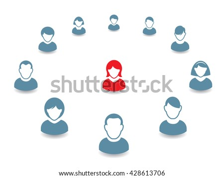 Human portrait Icon. Vector Illustration. Office team and Leader. - stock vector