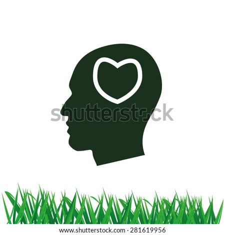 Human profile with heart vector icon - stock vector