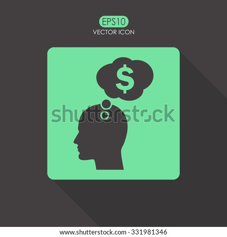 Human profile with speech bubble vector icon. - stock vector