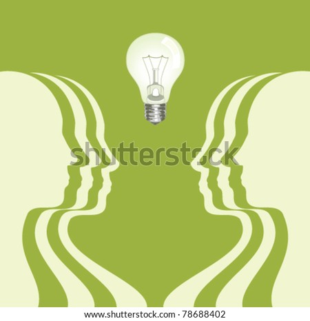 human profiles with a light bulb above - stock vector