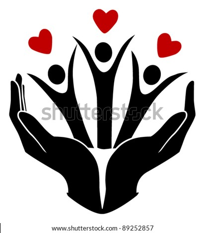human protect and give love - stock vector