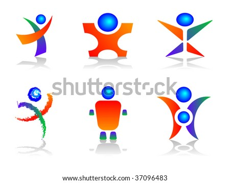Human Related Colourful and Abstract Design Elements - stock vector