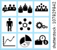 human resource and business, icon set - stock vector