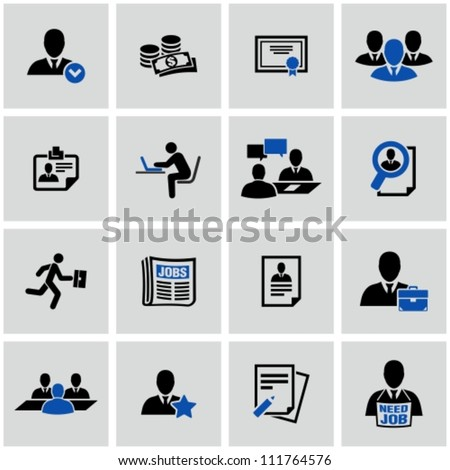 Human resource and recruitment icons set. - stock vector