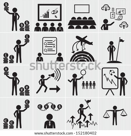 Human resource business and management icon set.