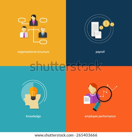 human resource icon payroll organization performance knowledge - stock vector