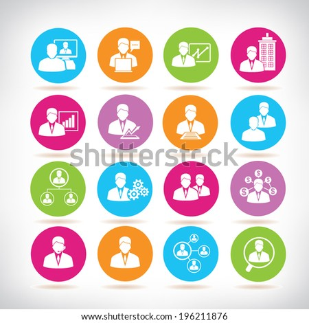 human resource icons, business management color buttons set - stock vector