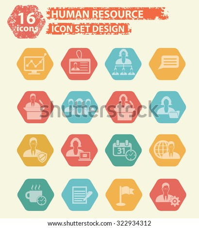 Human resource icons,vector - stock vector