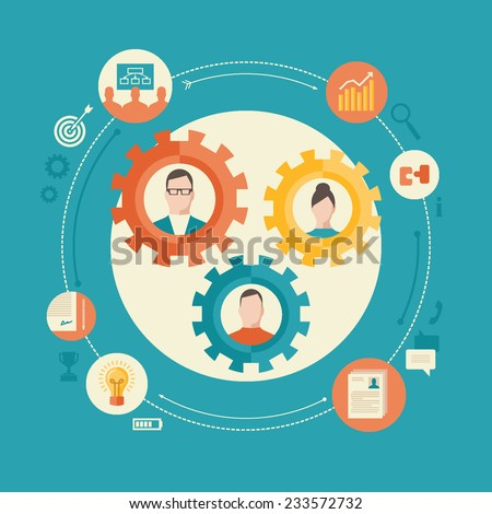 Human resource management flat design colorful vector illustration concept isolated on bright background - stock vector