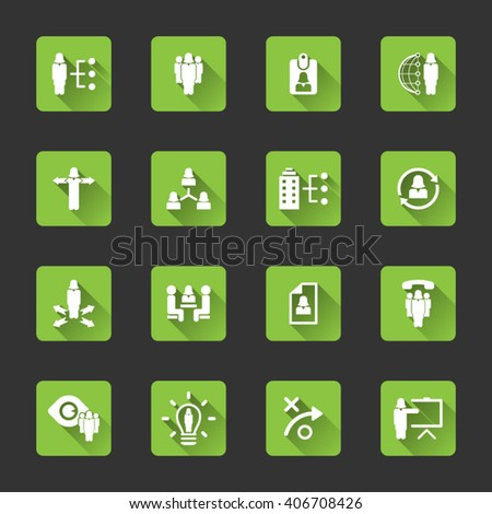 Human resource management icon set - woman, female characters icon set