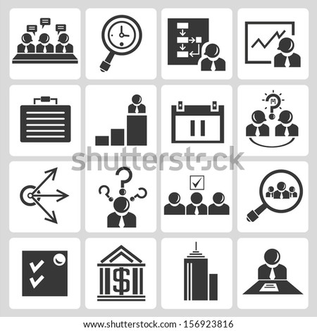 human resource management icons, company icons, office icons - stock vector