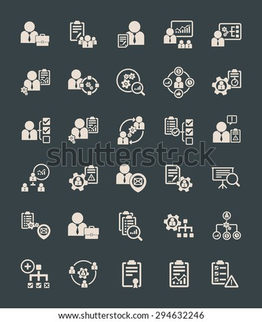 Human resource management icons, vector illustration icon set. - stock vector