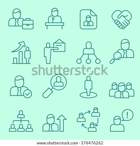 Human resource management, team building and business training icons, thin line, flat design - stock vector