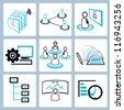 human resource, organization, business management icon set, simple line - stock photo